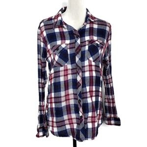 BeachLunchLounge Plaid Button Up Top